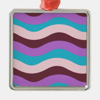ファンキーな波のデザイン シルバーカラー正方形オーナメント