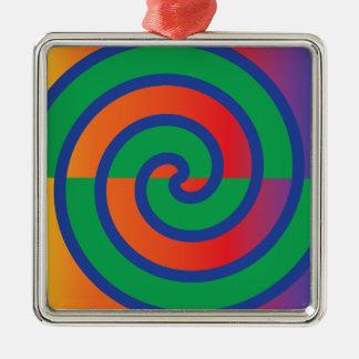 ファンキーな渦巻パターン色のしぶき シルバーカラー正方形オーナメント