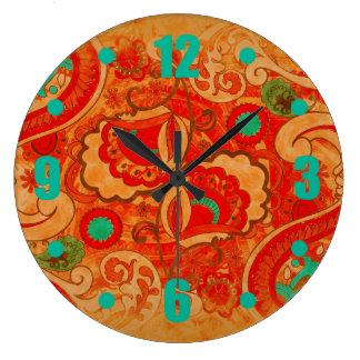 ファンキーな燃やされたオレンジ赤のティール(緑がかった色)のヴィンテージのペイズリー ラージ壁時計