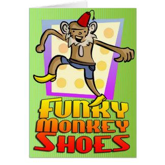ファンキーな猿は挨拶状に蹄鉄を打ちます! グリーティングカード