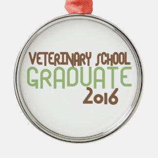 ファンキーな獣医科大学の卒業生2016年(緑) シルバーカラー丸型オーナメント