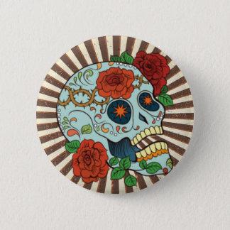 ファンキーな砂糖Skulls Dia de los Muertos 5.7cm 丸型バッジ