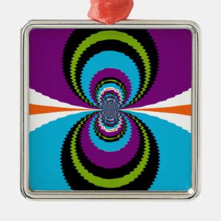 ファンキーな紫色のティール(緑がかった色)水はパターンを波立てます シルバーカラー正方形オーナメント