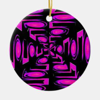 ファンキーな紫色の円およびライン セラミックオーナメント