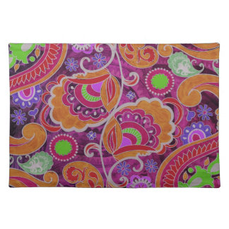 ファンキーな紫色の抽象芸術のレトロのペイズリーパターン ランチョンマット