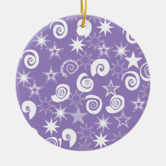 ファンキーな紫色の星および渦巻のおもしろいパターンギフト セラミックオーナメント