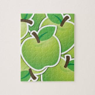 ファンキーな緑のりんご ジグソーパズル