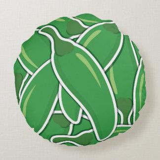 ファンキーな緑のチリペッパー ラウンドクッション