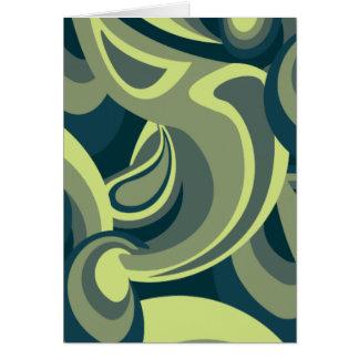 ファンキーな緑の渦巻パターン カード