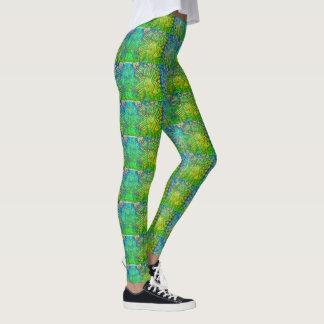 ファンキーな緑パターン レギンス