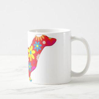 ファンキーな花のダックスフント犬のマグ コーヒーマグカップ