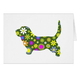 ファンキーな花のレトロの花のバセットハウンド犬 カード