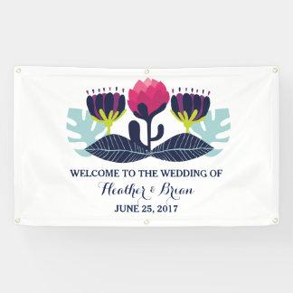 ファンキーな花の結婚式の旗 横断幕