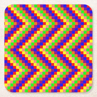 ファンキーな虹のブロック スクエアペーパーコースター