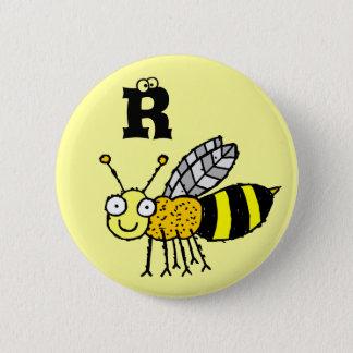 ファンキーな農場の蜂蜜の蜂のモノグラムボタンの手紙R 5.7CM 丸型バッジ