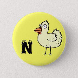 ファンキーな農場の鶏のモノグラムボタンの手紙N 5.7CM 丸型バッジ