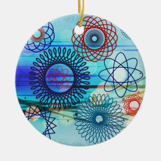 ファンキーなSpirograph幾何学的なパターン青いデザイン セラミックオーナメント