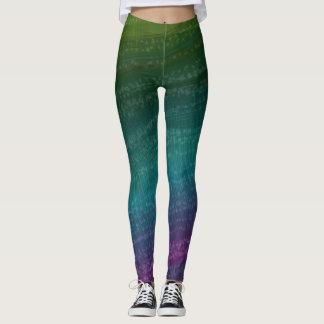 ファンキー色彩の鮮やかなデザイン-緑の紫色と縞で飾ります レギンス