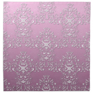 ファンシーでガーリーなピンクの花のダマスク織パターン ナプキンクロス
