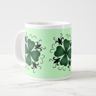 ファンシーでビクトリアンなシャムロックSt patricks day ジャンボコーヒーマグカップ