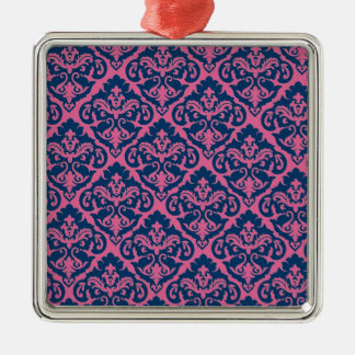 ファンシーでフランスのなダマスク織 シルバーカラー正方形オーナメント