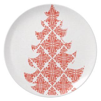 ファンシーで贅沢なクリスマスツリーパターン プレート
