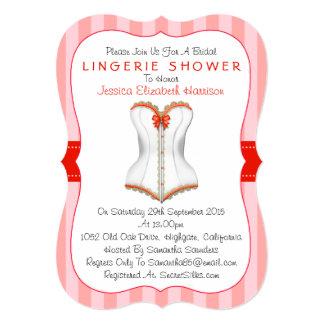 ファンシーで赤く及び白いコルセットのランジェリーのシャワー カード