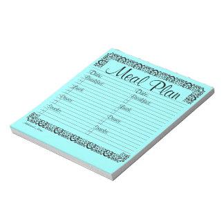 ファンシーで青い食事の計画のメモ帳 ノートパッド