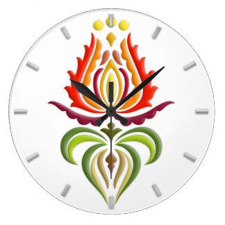 ファンシーなふたの刺繍-ハンガリーの民芸 ラージ壁時計