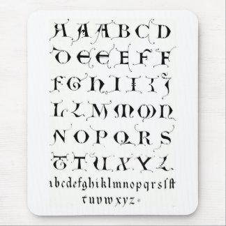 ファンシーなアルファベット-マウスパッド マウスパッド
