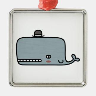 ファンシーなクジラ シルバーカラー正方形オーナメント
