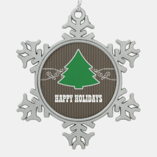 ファンシーなクリスマスツリーの渦巻のオーナメント スノーフレークピューターオーナメント