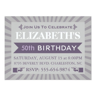 ファンシーなチケットの紫色の第50誕生日のパーティの招待状 14 X 19.1 インビテーションカード