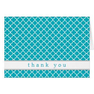 ファンシーなティール(緑がかった色)パターンはノート感謝していしています カード