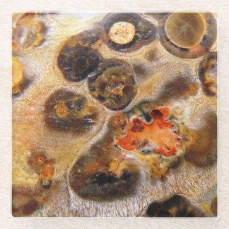 ファンシーなヒョウの皮の設計されている自然な石の写真 ガラスコースター