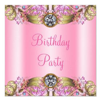 ファンシーなピンクの金ゴールドの誕生会 カード