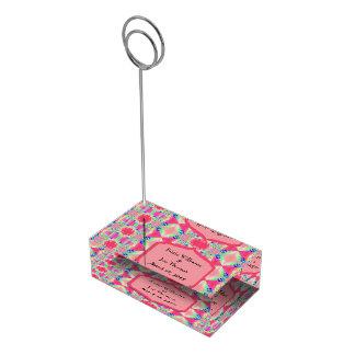ファンシーなピンクパターン結婚式 テーブルカードホルダー