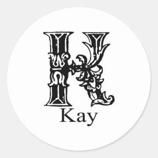 ファンシーなモノグラム: ケイ ラウンドシール