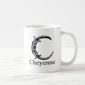 ファンシーなモノグラム: シャイエンヌ コーヒーマグカップ