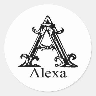 ファンシーなモノグラム: Alexa ラウンドシール