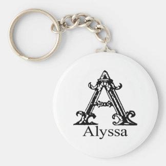 ファンシーなモノグラム: Alyssa キーホルダー