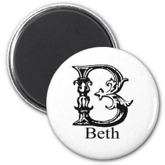 ファンシーなモノグラム: Beth マグネット