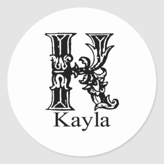 ファンシーなモノグラム: Kayla ラウンドシール
