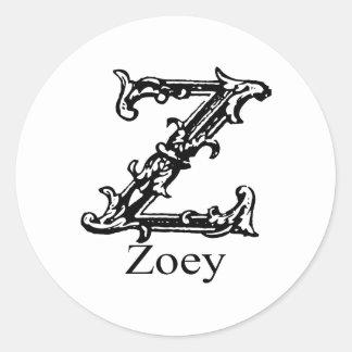 ファンシーなモノグラム: Zoey ラウンドシール