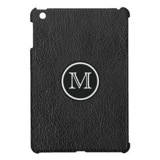 ファンシーな円のモノグラムの黒の模造のな革場合 iPad MINIケース