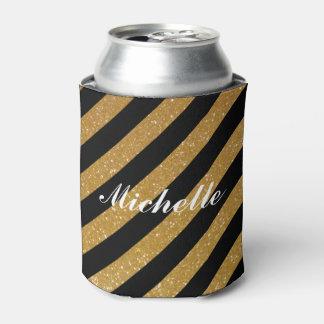 ファンシーな名前をカスタムするの金ゴールドのグリッターのストライプのな缶のクーラー 缶クーラー