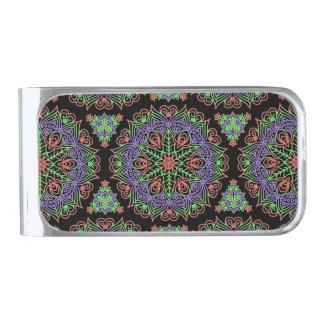 ファンシーな曼荼羅の抽象芸術の花模様 シルバー マネークリップ