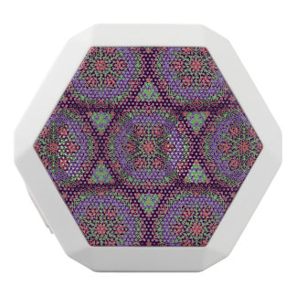 ファンシーな曼荼羅の抽象芸術の花模様 ホワイトBluetoothスピーカー