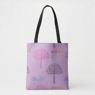 ファンシーな木パターン薄紫 トートバッグ