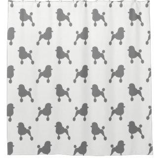 ファンシーな標準プードルはパターンのシルエットを描きます シャワーカーテン
